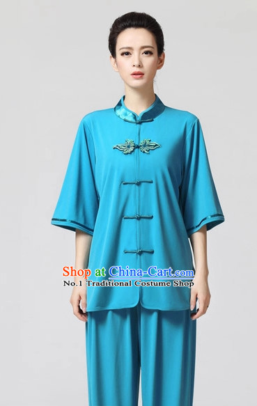Plain Blue Color Top Asian China Tai Chi Short Sleeves Uniform