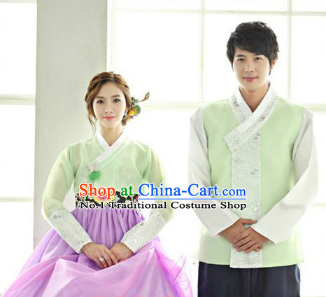 Top Korean Traditional Hanbok National Costumes Complete Set for Brides and Bridegroom