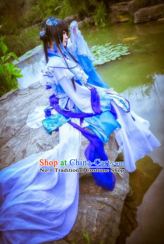 Blue Chinese Empress Cosplay Costumes Asian Fashion Complete Set for Women