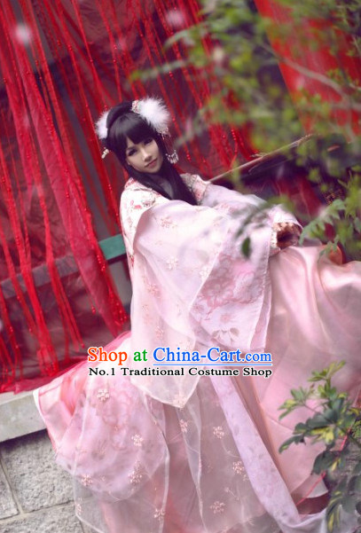 Chinese Ancient Pink Empress Fairy Costume and Hair Jewelry for Women