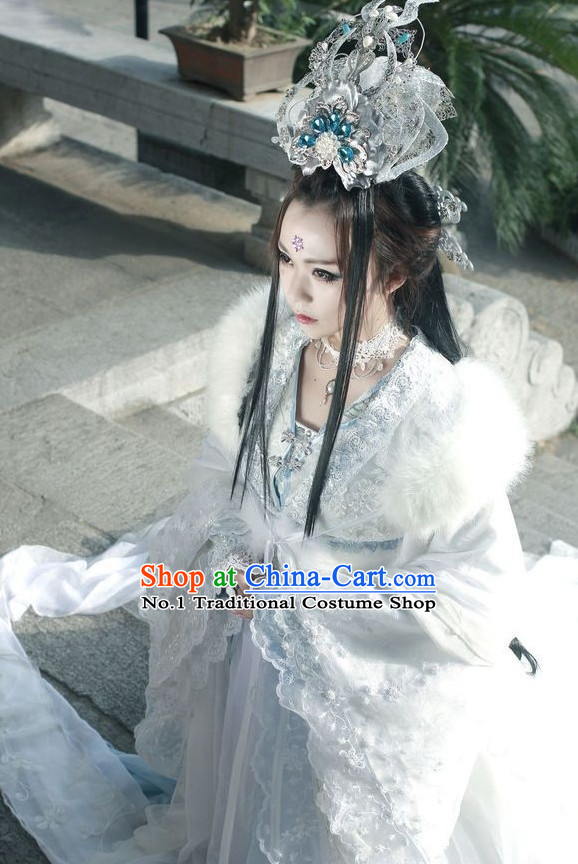 Asian Fashion Chinese Empress Costumes Clothing and Hair Jewelry Complete Set for Women