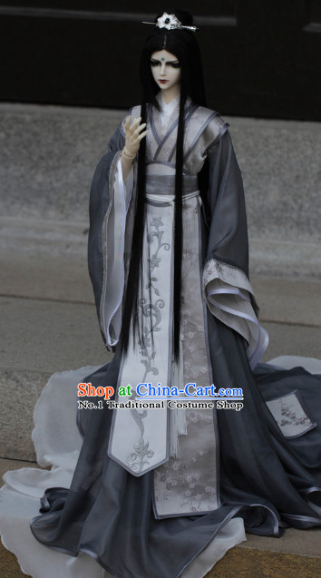 Asia Fashion China Civilization Chinese Swordsman Costumes Hanfu Dresses Complete Set for Men