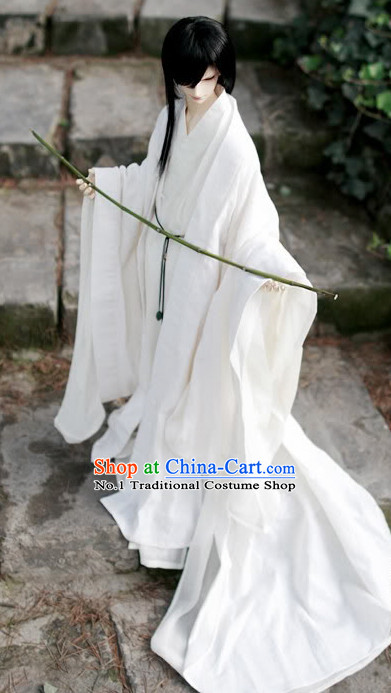 Asia Fashion China Civilization Chinese Pure White Hanfu Robe Complete Set