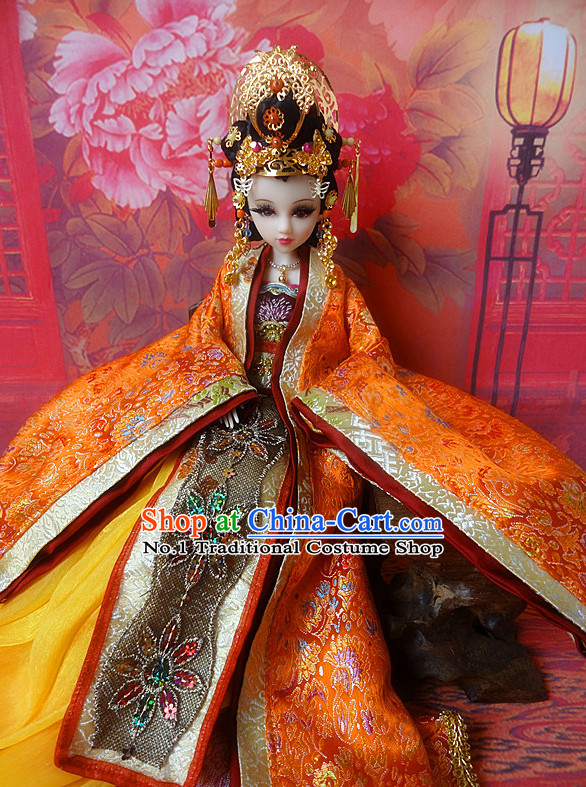 Asia Fashion China Civilization Chinese Princess Hanfu Robe and Hair Accessories Complete Set