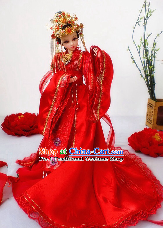 Asia Fashion China Civilization Chinese Empress Wedding Bridal Costume and Hair Accessories
