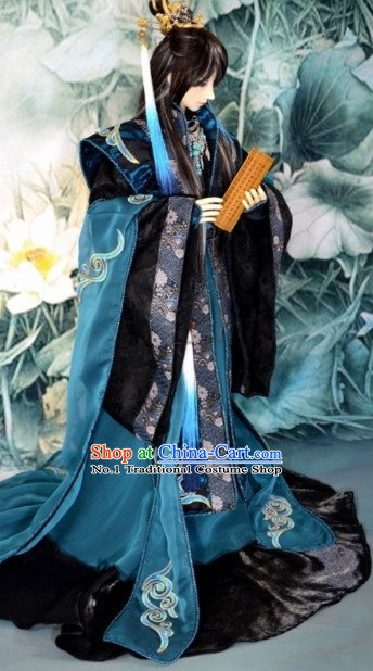 Asia Fashion China Civilization Chinese Emperor Costume and Hair Jewelry Complete Set
