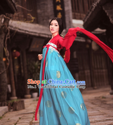 Asian Fashion Oriental Dresses Chinese Hanfu Plus Size Classy Costumes Complete Set