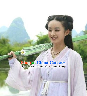 Chinese Ancient Fairy Swordswoman Costumes Complete Set