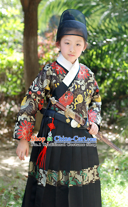 Chinese Ming Dynasty Bodyguard Kids Costumes and Hat Complete Set