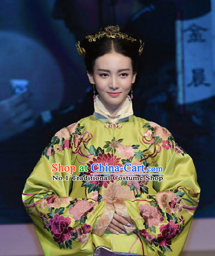 Chinese Traditional Ming Dynasty Imperial Princess Clothing and Hair Jewelry Complete Set