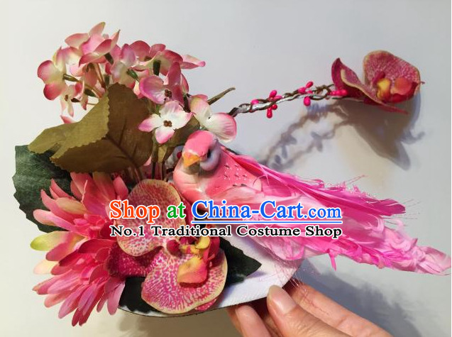 Custom Made Designer Bird and Flower Hair Fascinators Hair Slides Headpieces Hair Ornaments