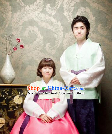 Traditional Korean Custom Made Hanbok Special Day Dresses Complete Set for Couple