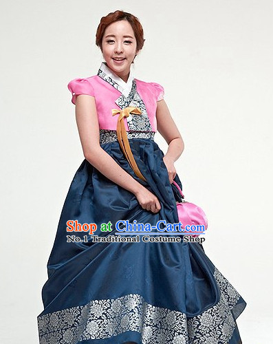 Traditional Korean Custom Made Special Day Customized Hanbok Eveing Dress Complete Set for Couple
