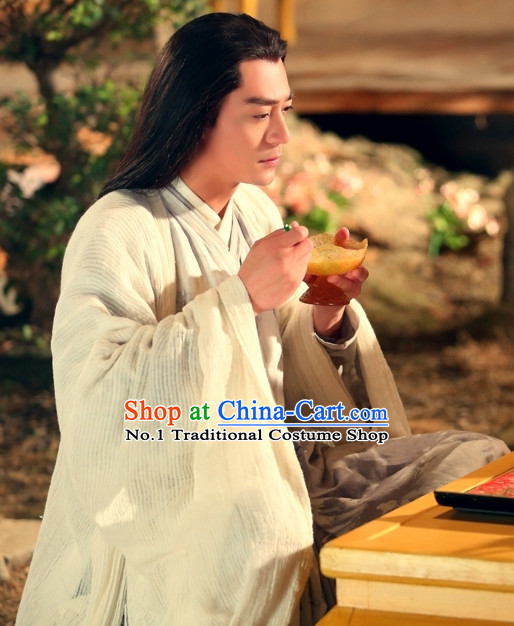Chinese Ancient Hanfu Clothing and Long Wig Complete Set for Men