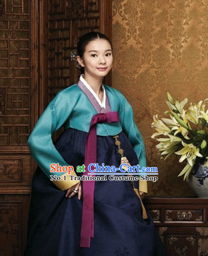 Traditional Korean Custom Made Special Day Customized Hanbok Costumes Complete Set for Ladies