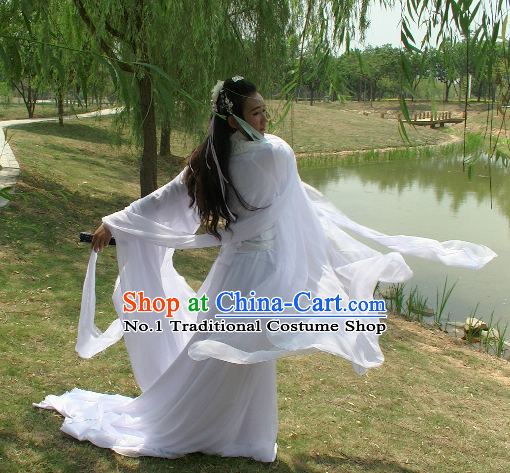 Asia Fashion Ancient China Culture Chinese Pure White Wide Sleeves Kimono Dress