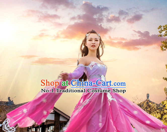 Asia Fashion Ancient China Culture Chinese Princess Clothing and Hair Accessories Complete Set