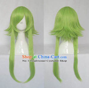 Chinese Cosplay Long Green Wigs