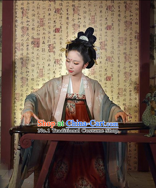 Asian Fashion Chinese Tang Dynasty Princess Clothes and Hat Complete Set