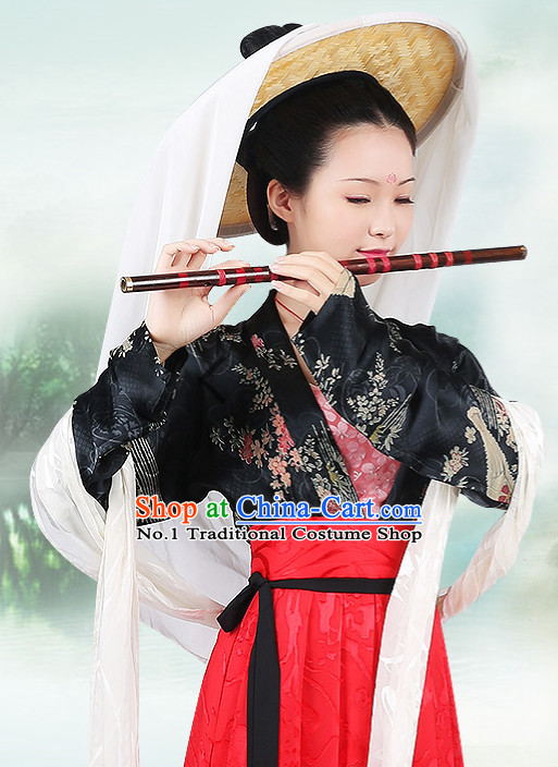 Chinese Ancient Mysterious Lady Clothing and Bamboo Hat Complete Set
