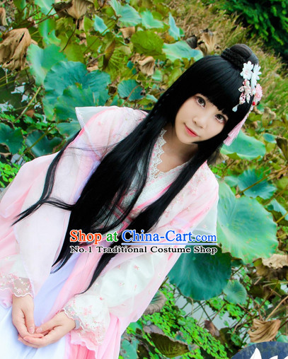 Chinese Traditional Fairy Costumes and Hair Accessories Complete Set