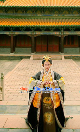 China Fashion Chinese Ancient Costume Female Emperor Wu Zetian Costume and Hair Jewelry Complete Set
