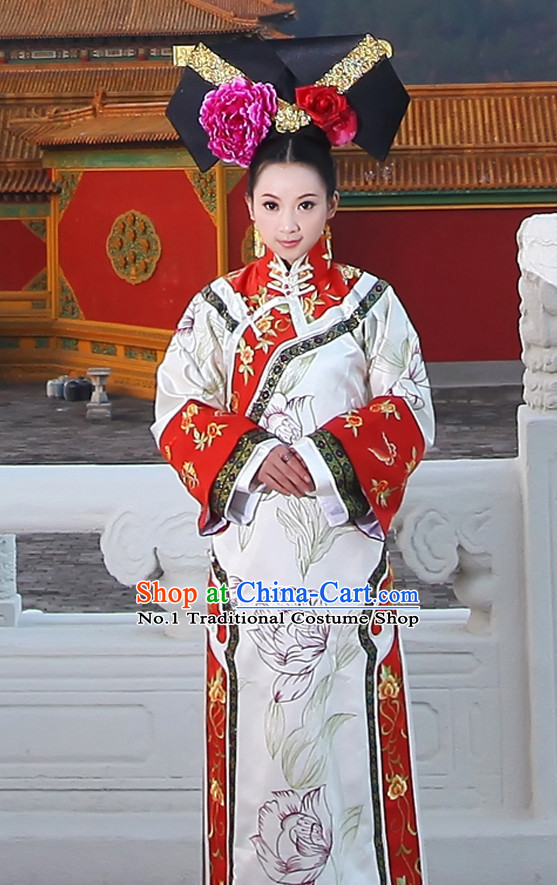 China Fashion Chinese Ancient Costume Wedding Clothes and Hair Accessories Complete Set