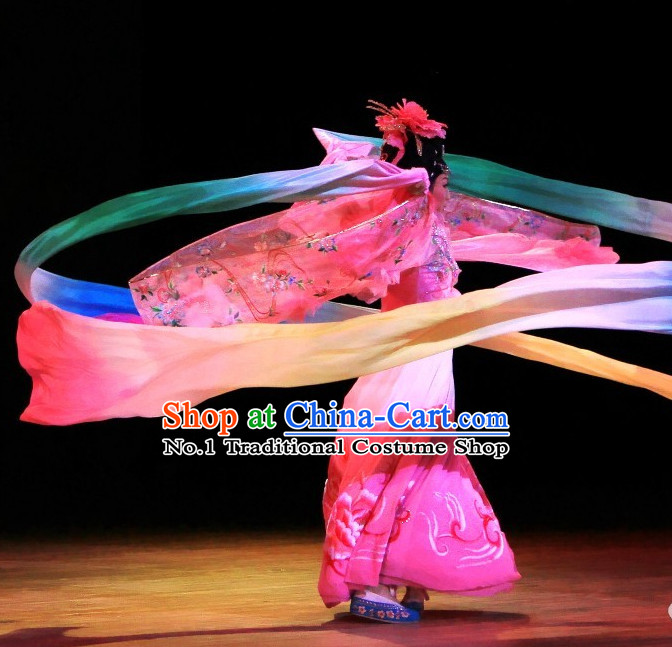 Chinese Classical Ribbon Dance Costumes and Headwear Complete Set