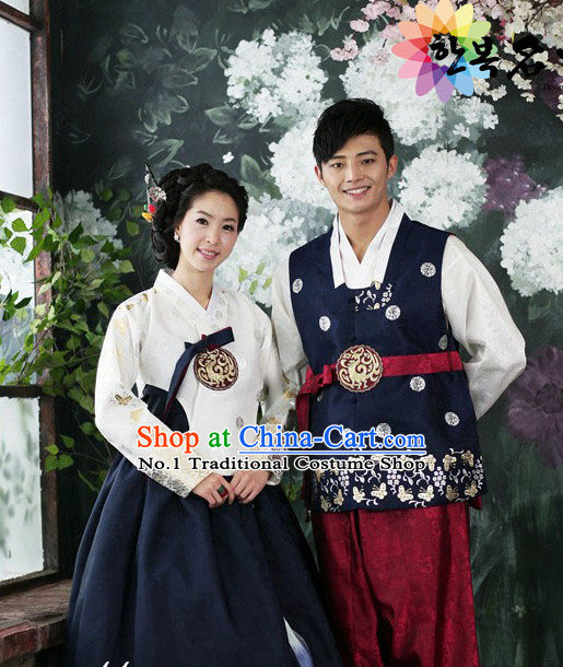 Traditional Korean Fashion Style Couple Clothing Complete Sets for Men and Women