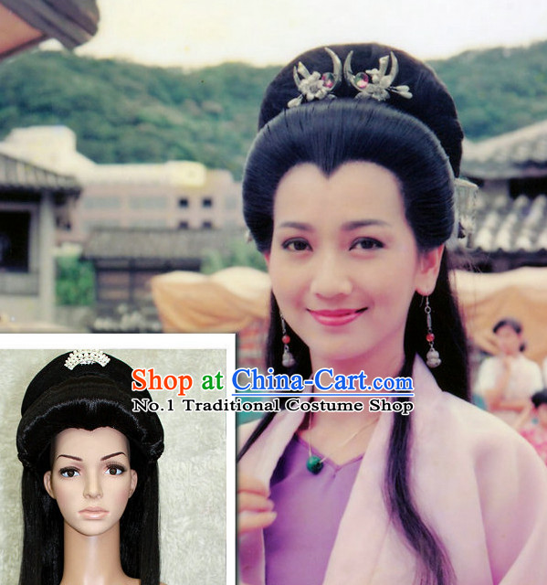 Chinese Traditional White Snake Fairy Lady Long Black Wig
