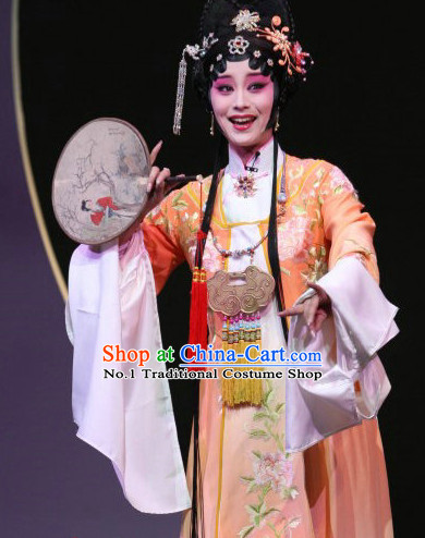 Chinese Professional Stage Performance Opera Hua Dan Costumes and Hair Accessories Full Set