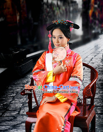 Chinese Traditional Princess Dress and Hat Complete Set for Brides