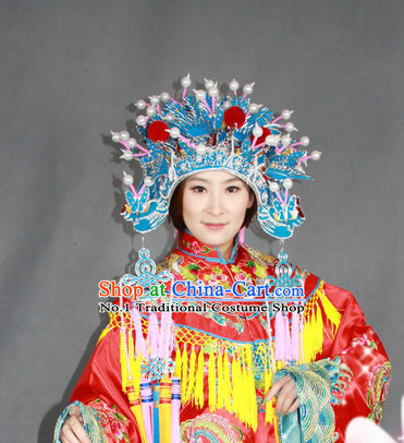 Chinese Traditional National Costume Phoenix Embroidered Robe and Phoenix Hat