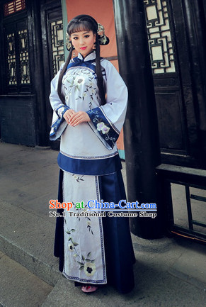 Chinese Traditional National Costumes Minguo Time Mandarin Blouse Skirts Complete Set