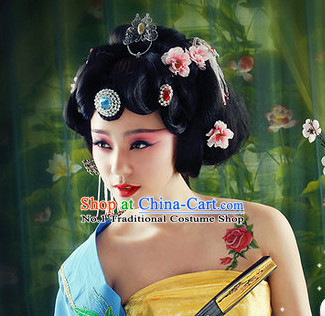 Chinese Traditional Handmade Empress Black Wig and Hair Ornaments