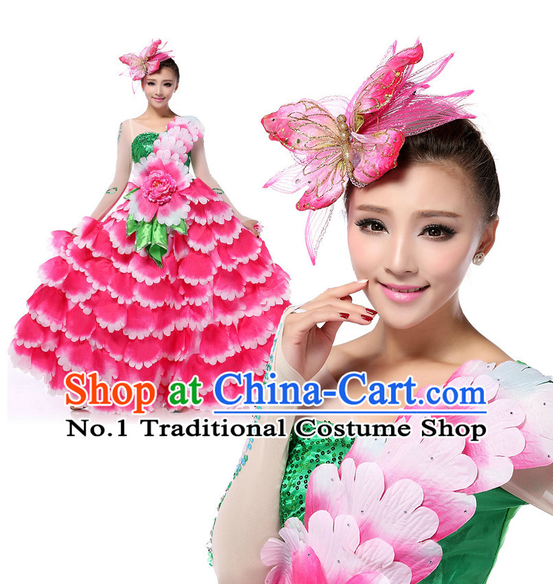 Chinese Traditional Flower Dancing Apparel Dance Attire and Headpiece Complete Set for Women