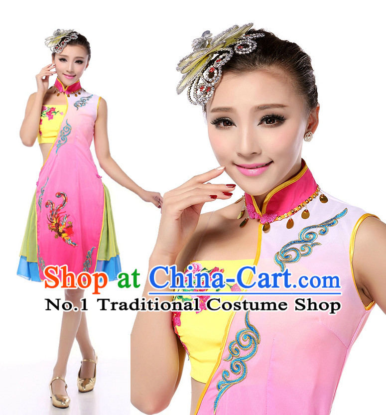 Chinese Stage Cheongsam Qipao Costumes Dance Stores Dance Gear Dance Attire and Hair Accessories Complete Set