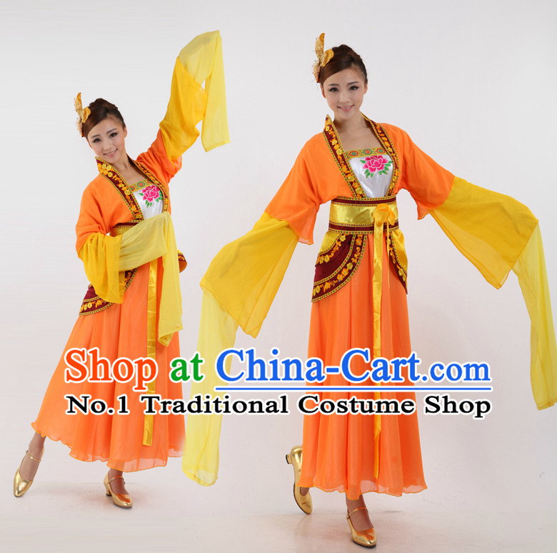 Asian Chinese Classical Dancing Costumes Dance Stores Dance Gear Dance Attire and Hair Accessories Complete Set