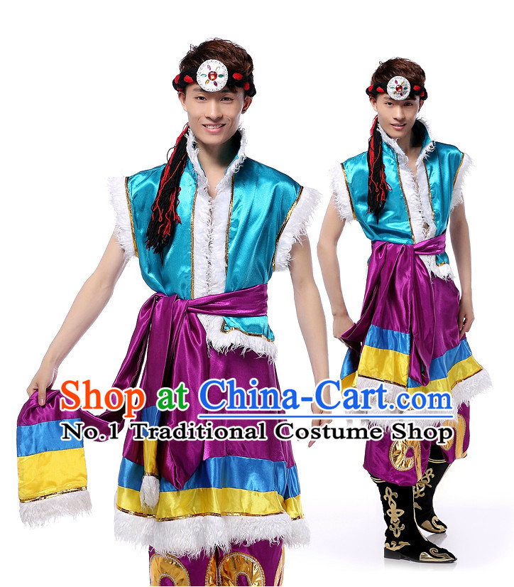Asian Chinese Meng Gu Clothes Complete Set for Men