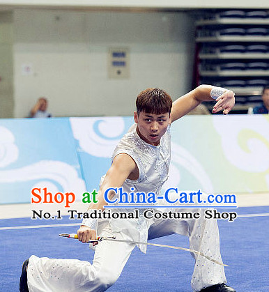 Top Short Sleeves Martial Arts Uniforms Supplies Kung Fu Southern Sword Competition Uniforms for Men