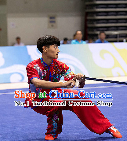 Top Embridered Martial Arts Uniform Supplies Kung Fu Southern Swords Broadswords Championship Competition Clothing for Men