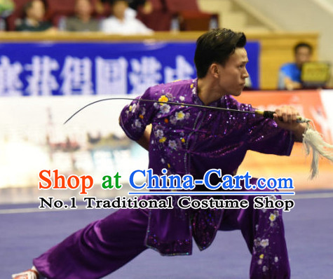 Top Embridered Martial Arts Uniform Supplies Kung Fu Swords Broadswords Championship Competition Clothing for Men