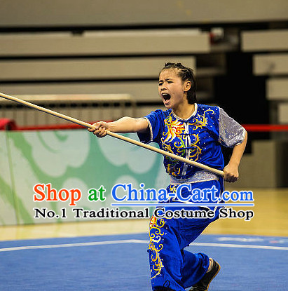 Top Blue Kung Fu Stick Competition Uniforms Kungfu Training Suit Kung Fu Clothing Kung Fu Movies Costumes Wing Chun Costume Shaolin Martial Arts Clothes for Women