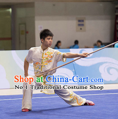 Top Embroidery Kung Fu Stick Competition Uniforms Kungfu Training Suit Kung Fu Clothing Kung Fu Movies Costumes Wing Chun Costume Shaolin Martial Arts Clothes for Men