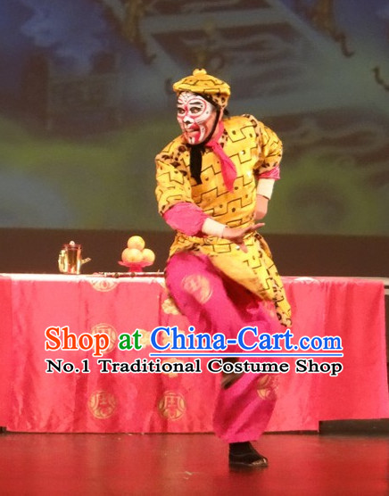 Chinese Stage Performance Monkey King Costumes and Hat Complete Set