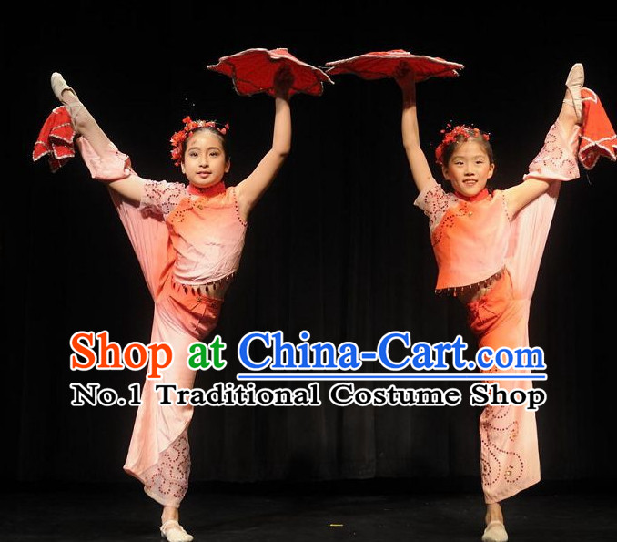 Professional Chinese Stage Performance Acrobatics Dance Costumes and Headwear Complete Set for Kids