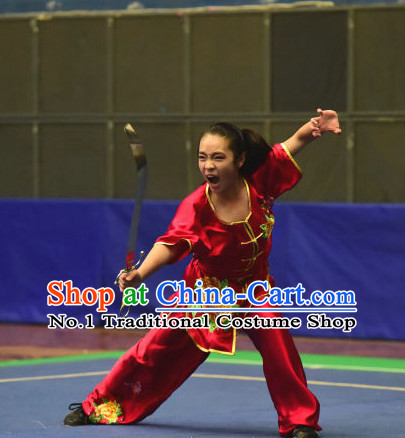 Top Red Chinese Wushu Kung Fu Sword Uniforms Kungfu Uniform Martial Arts Competition Costumes for Women
