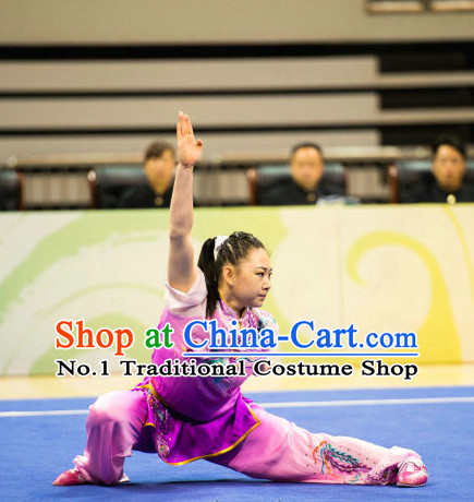 Top Embroidered Phoenix Chinese Kung Fu Uniform Martial Arts Uniforms Kungfu Suits Competition Costumes Complete Set