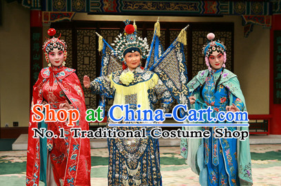 Chinese Ancient Wu Tan Costumes Fighting or Military Female Character Costume Three Sets