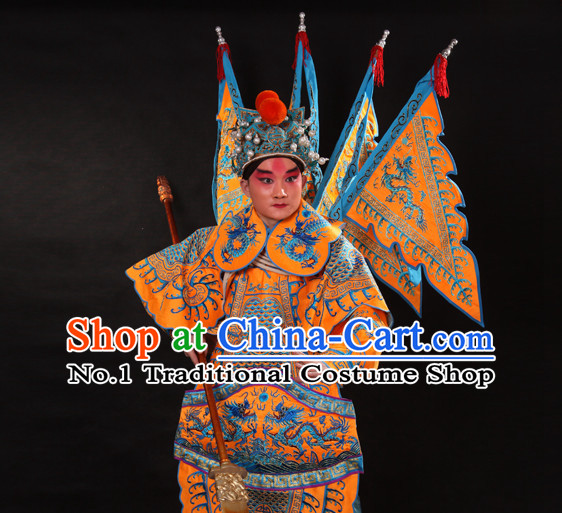 Chinese Yellow Beijing Opera Wu Sheng Fighting or Military Character Armor Costumes Flags and Helmet Full Set for Men
